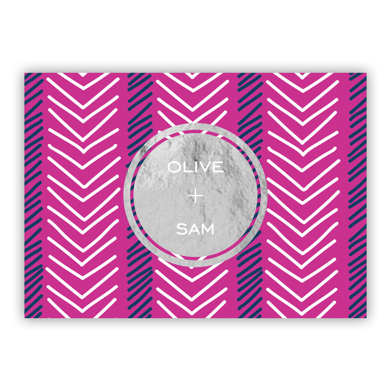 Topstitch Foil Personalized Mini Folded Note with Foil Accent (25 cards)