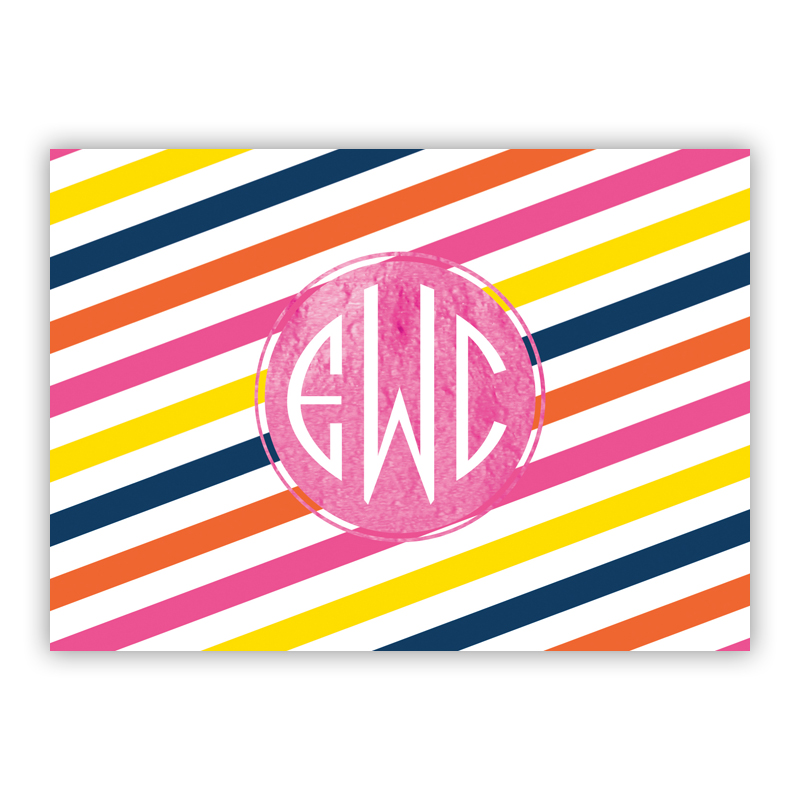 Fruit Stripe Foil Personalized Mini Folded Note with Foil Accent (25 cards)