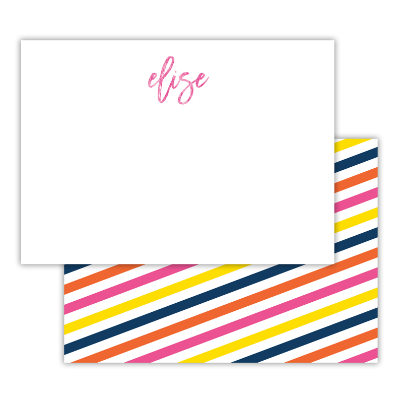 Fruit Stripe Foil Personalized Deluxe Flat Card with Foil Accents (25 cards)