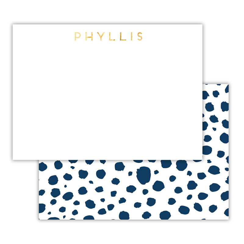 Cheetah Foil Personalized Deluxe Flat Card with Foil Accents (25 cards)