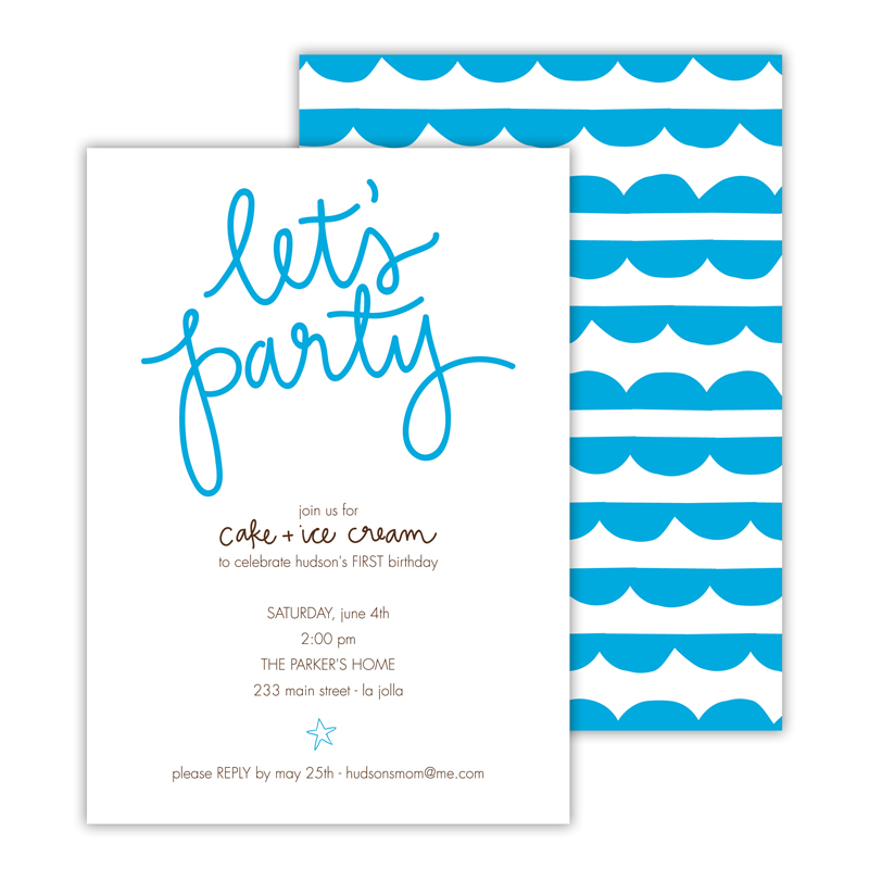 Let's Party Deluxe Flat Card Invitations (25)