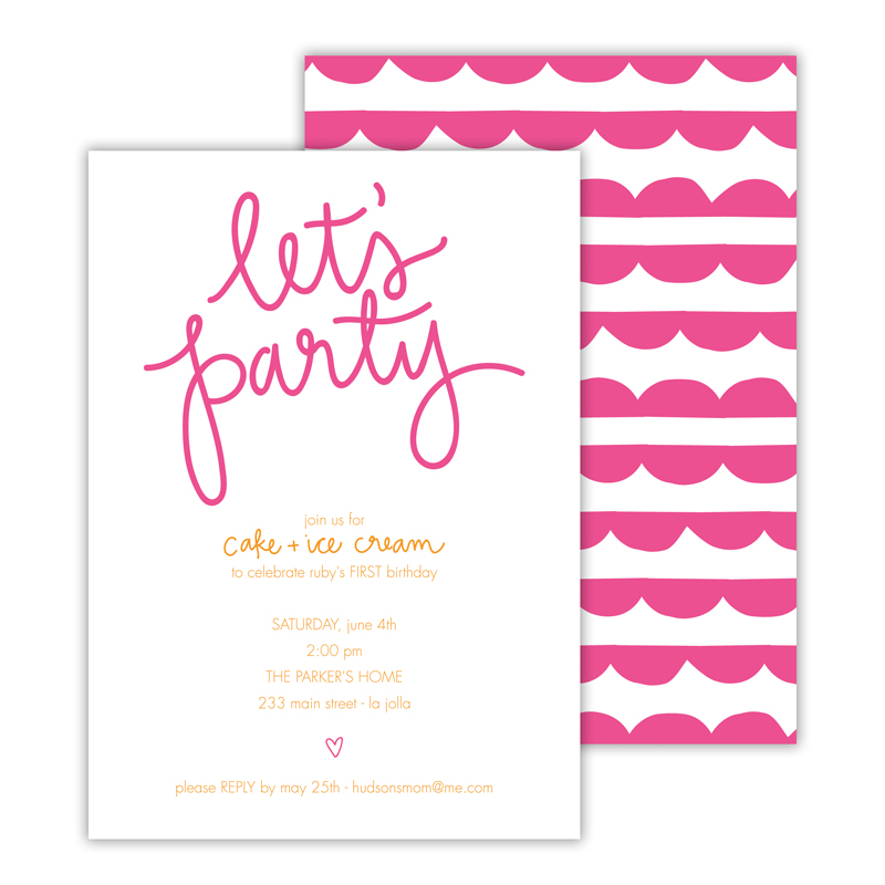 Let's Party 2 Deluxe Flat Card Invitations (25)