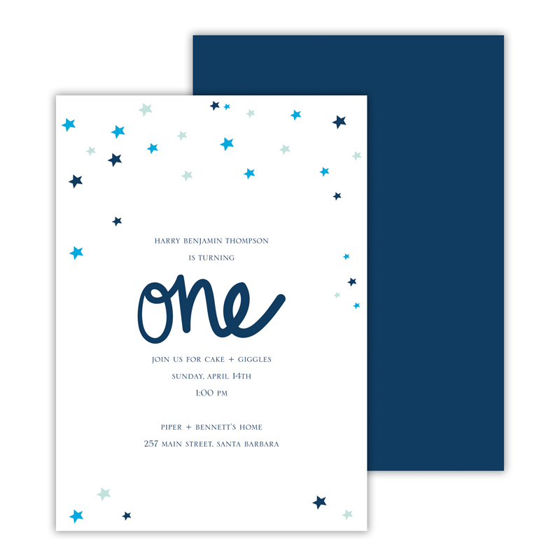 Stars Blue Deluxe Flat Card Invitations (25)