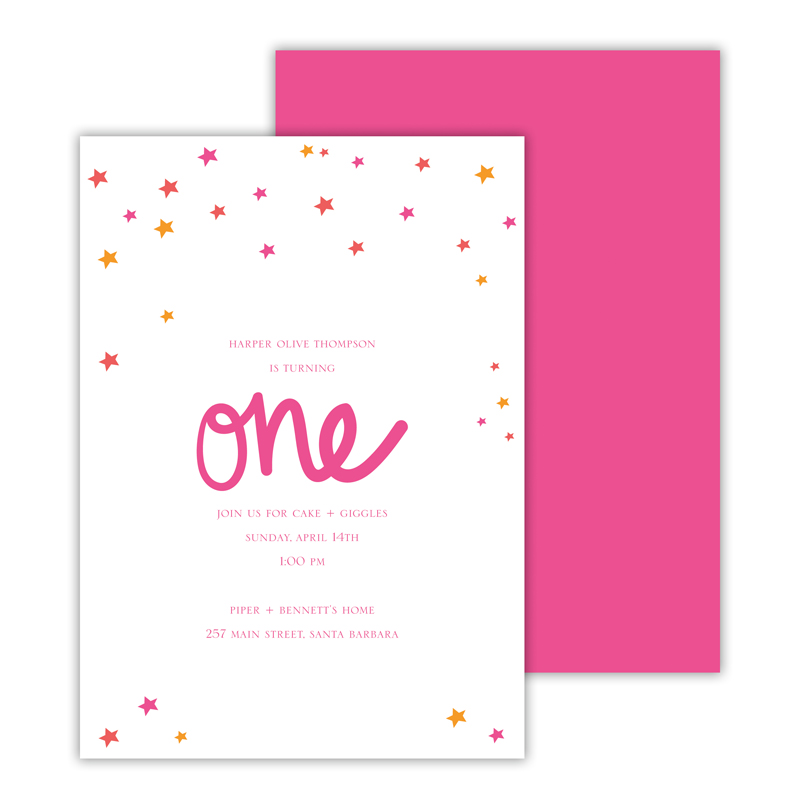 Stars Pink Deluxe Flat Card Invitations (25)