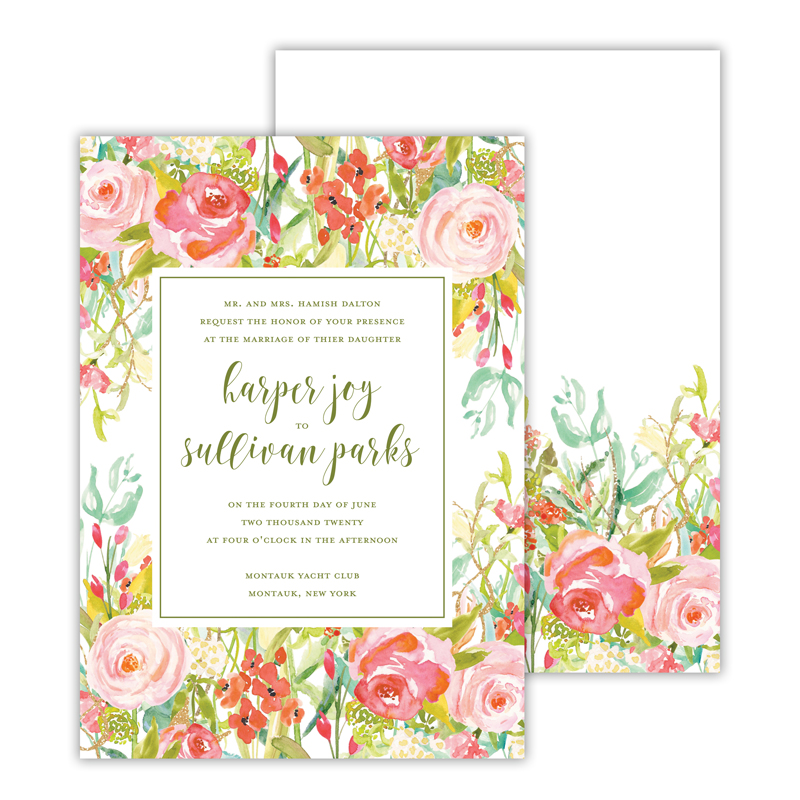 Everything Rosy Deluxe Flat Invitation or Save the Date Card (25 cards)