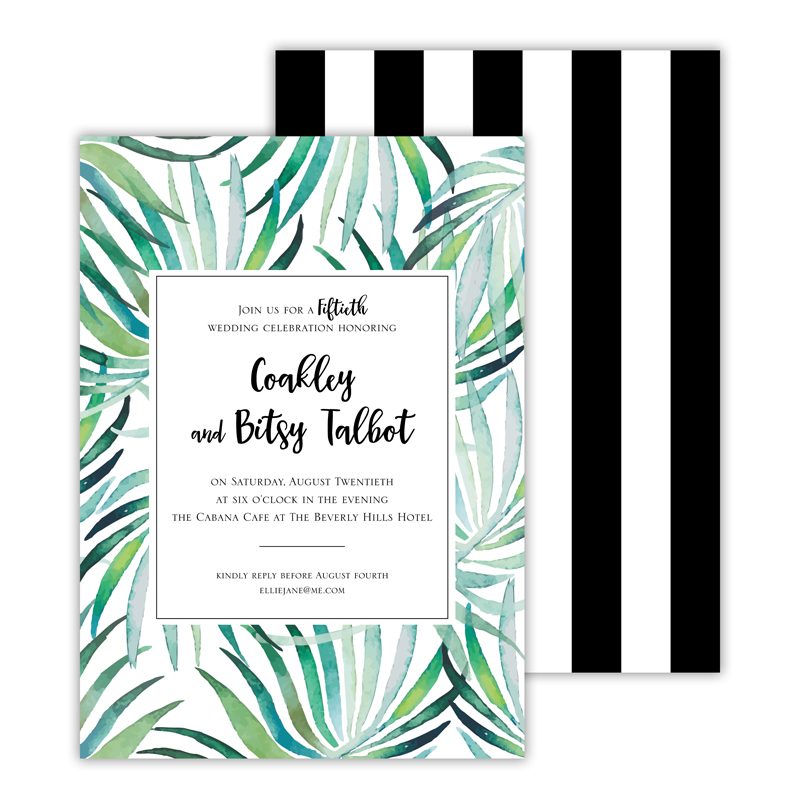 Palms Deluxe Flat Invitation or Save the Date Card (25 cards)