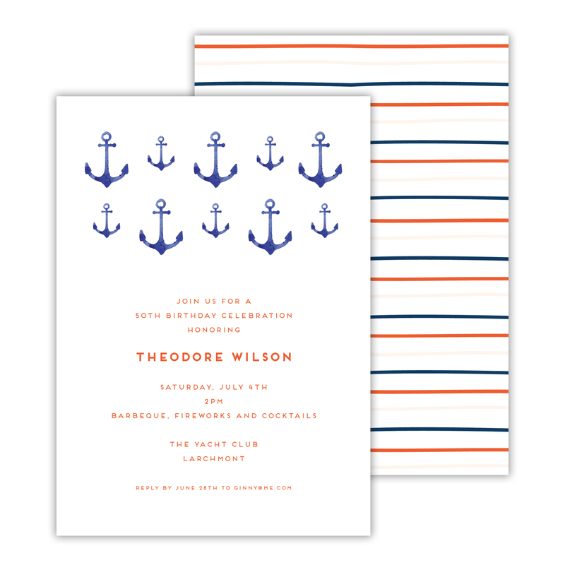 Anchors Aweigh Deluxe Flat Invitation or Save the Date Card (25 cards)