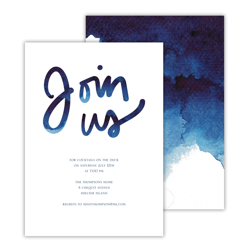 Watercolor Deluxe Flat Invitation or Save the Date Card (25 cards)