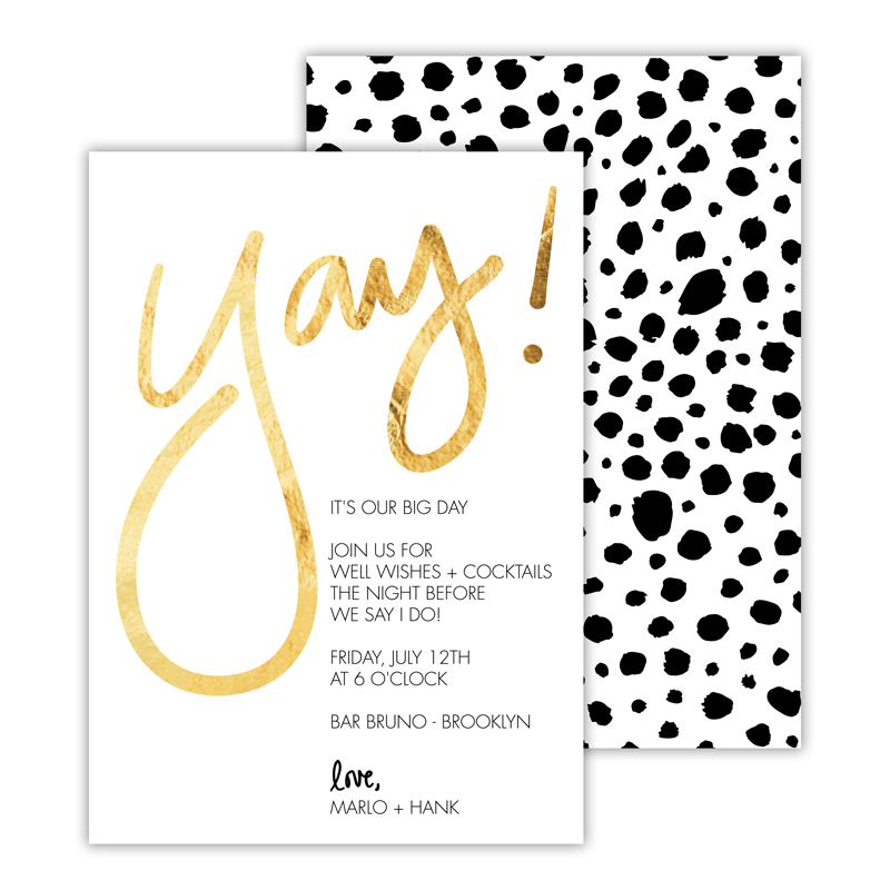 Yay! Foil Deluxe Flat Invitation or Save the Date Card (25 cards)