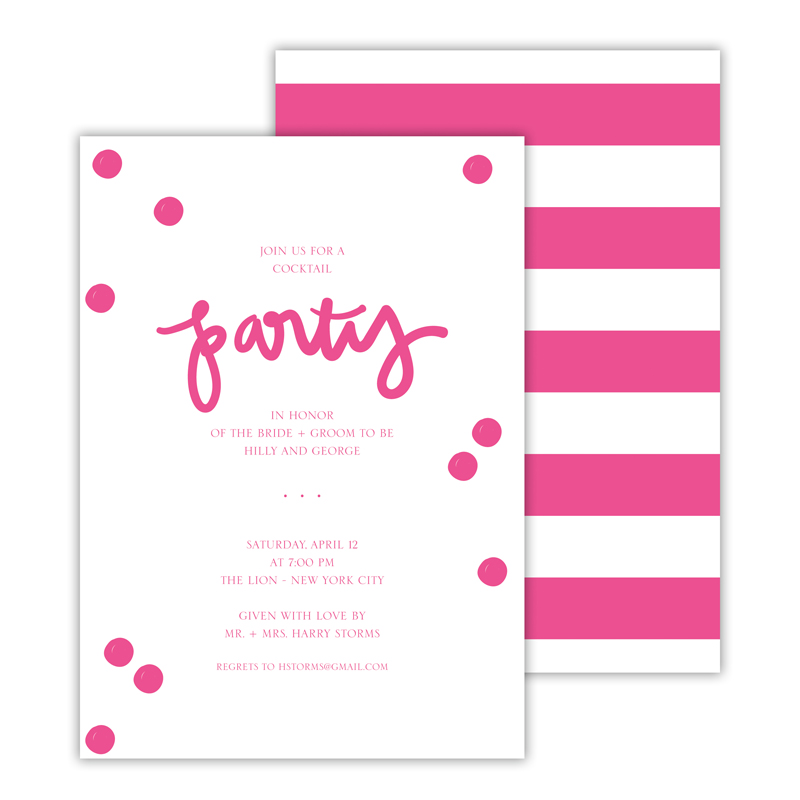 Festive Hot Pink Deluxe Flat Invitation or Save the Date Card (25 cards)