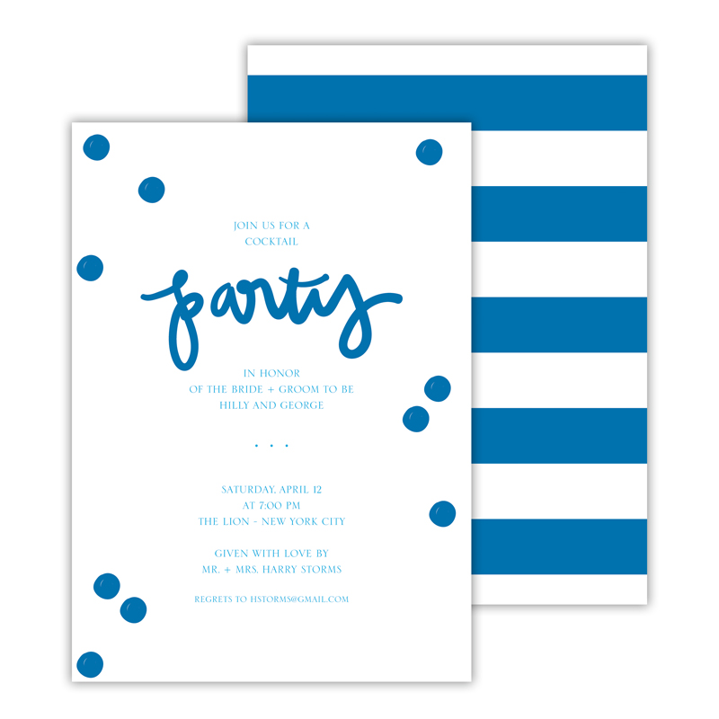 Festive Blue Deluxe Flat Invitation or Save the Date Card (25 cards)