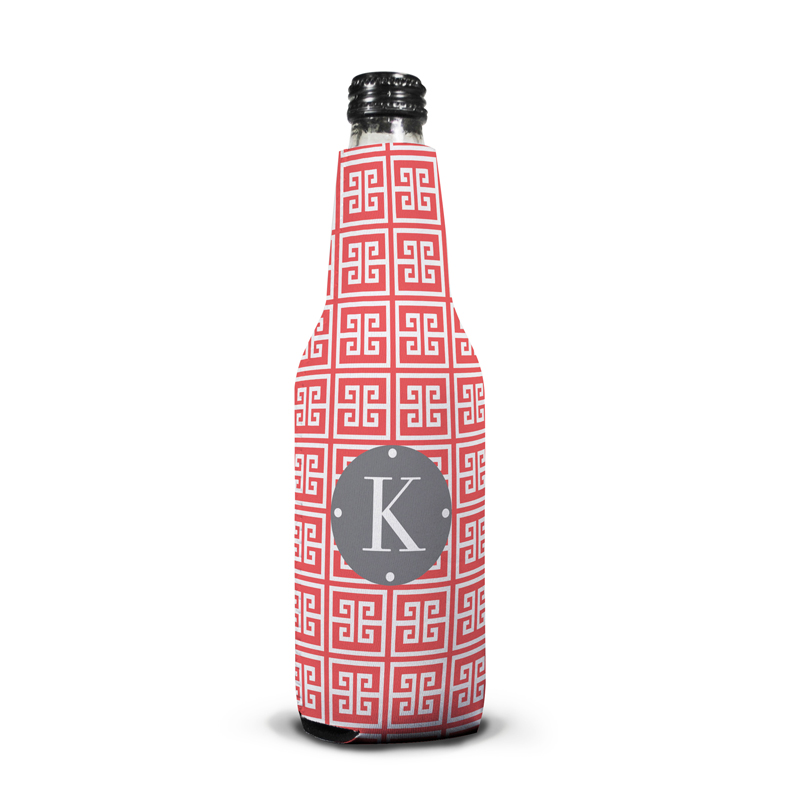 Greek Key Personalized Bottle Koozie