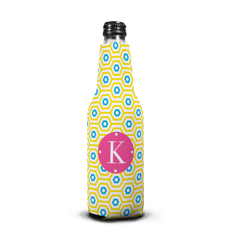 Happy Hexagon Personalized Bottle Koozie