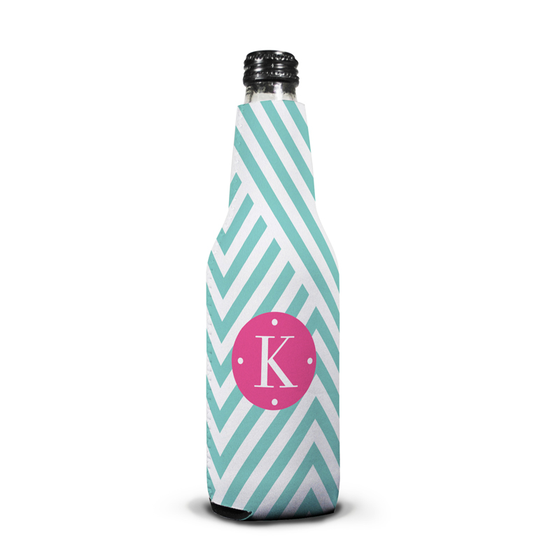 Modern Chevron Personalized Bottle Koozie