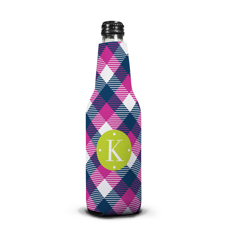 Tartan Personalized Bottle Koozie