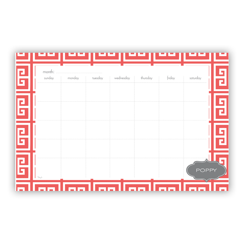 Greek Key Personalized Blotter Pad Refill, 25 Page Pad