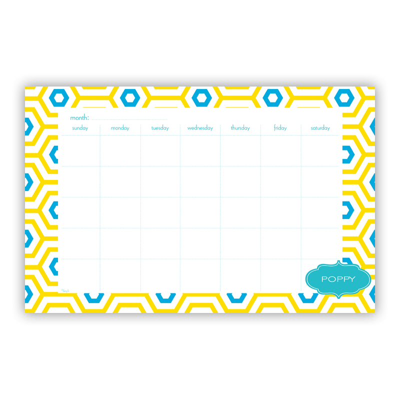 Happy Hexagon Personalized Blotter Pad Refill, 25 Page Pad