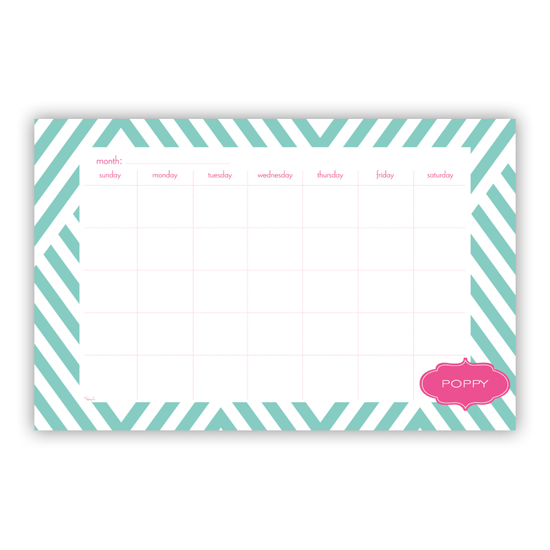 Modern Chevron Personalized Blotter Pad Refill, 25 Page Pad