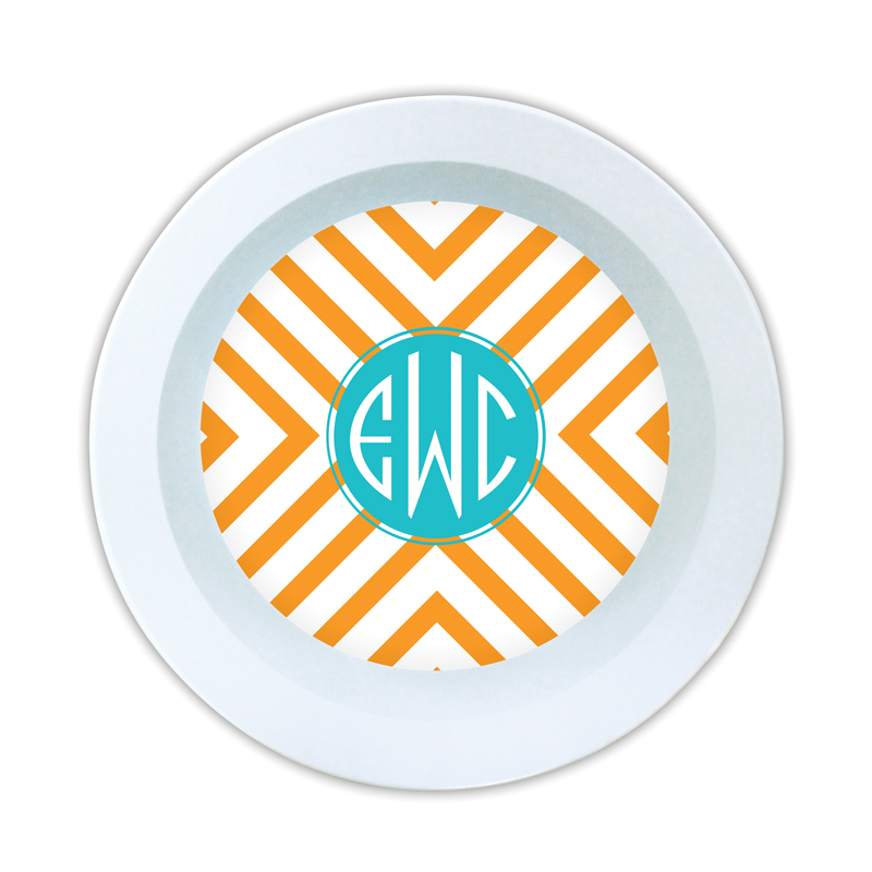 Chevron Personalized Melamine Bowl