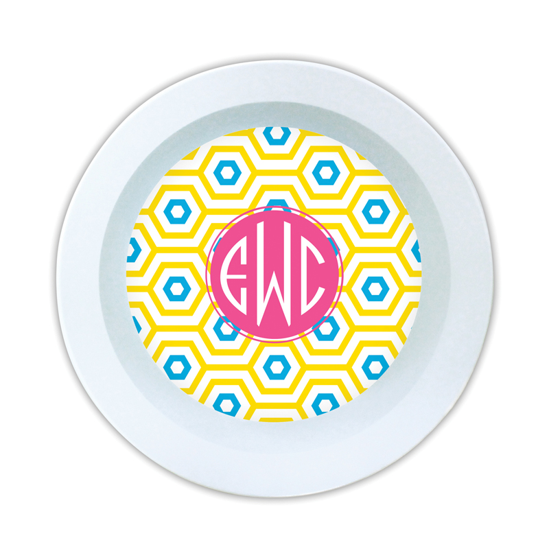 Happy Hexagon Personalized Melamine Bowl