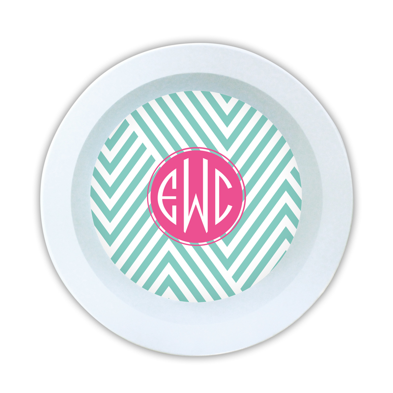 Modern Chevron Personalized Melamine Bowl