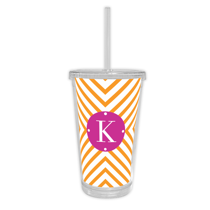 Chevron Personalized Cold Tumbler with Straw