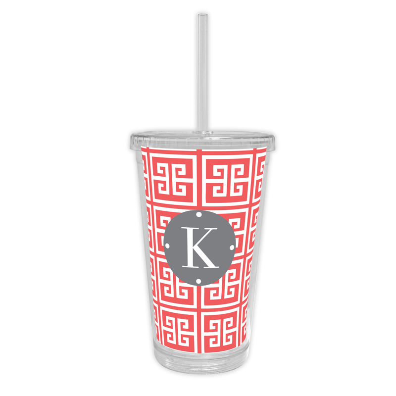 Greek Key Personalized Cold Tumbler with Straw