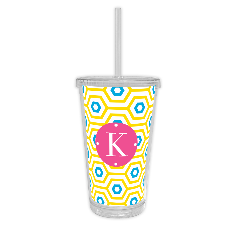 Happy Hexagon Personalized Cold Tumbler with Straw