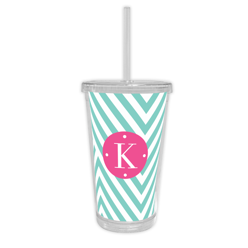 Modern Chevron Personalized Cold Tumbler with Straw
