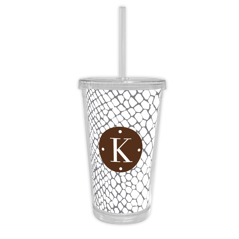 Snakeskin Personalized Cold Tumbler with Straw