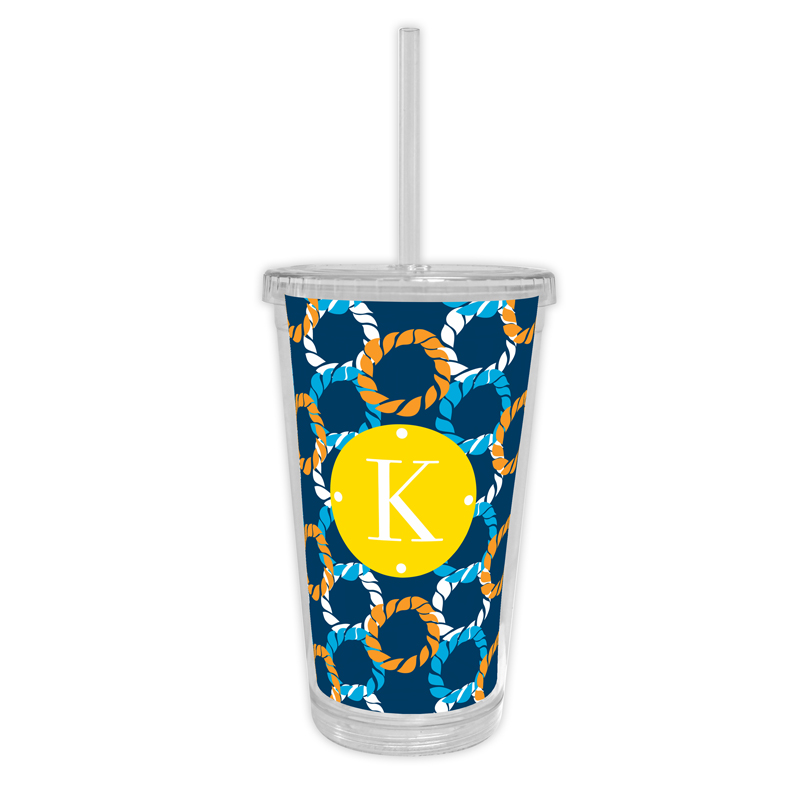 Nautical Knots Personalized Cold Tumbler with Straw