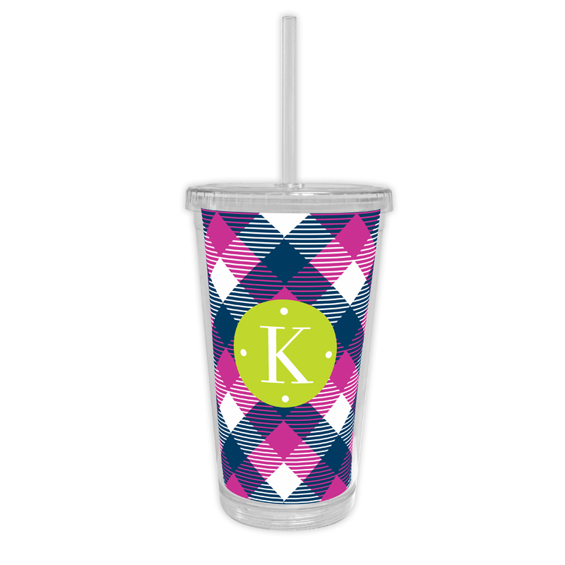 Tartan Personalized Cold Tumbler with Straw
