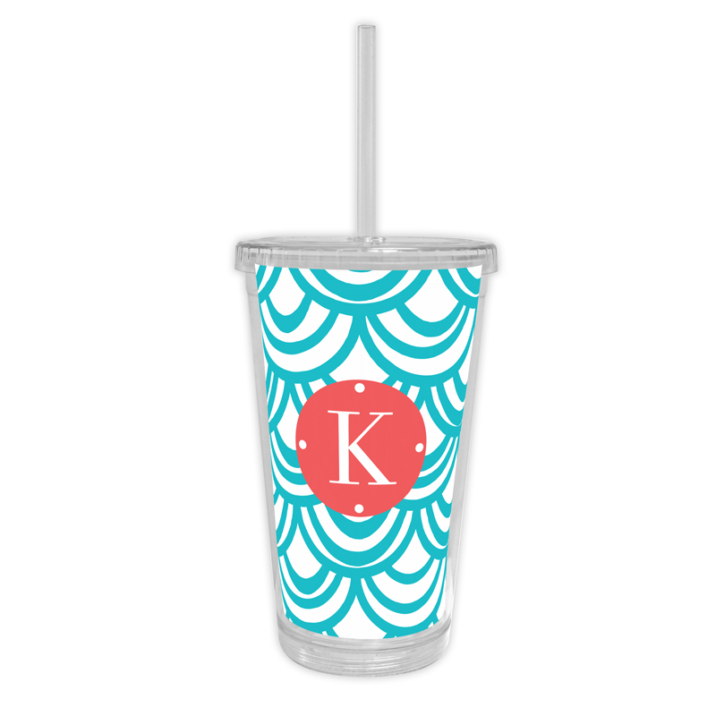 Seashells Personalized Cold Tumbler with Straw