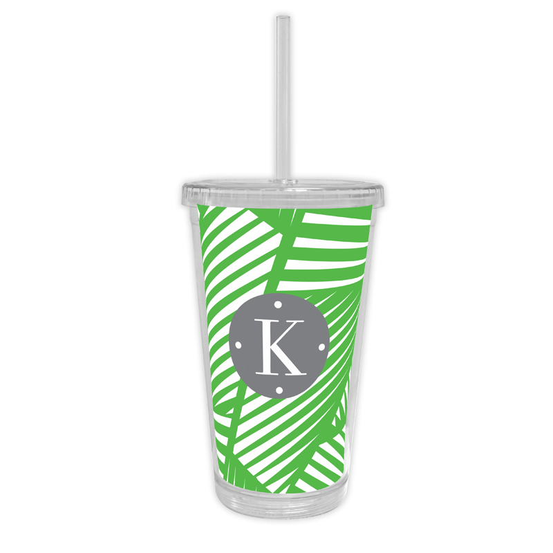 Palm Personalized Cold Tumbler with Straw