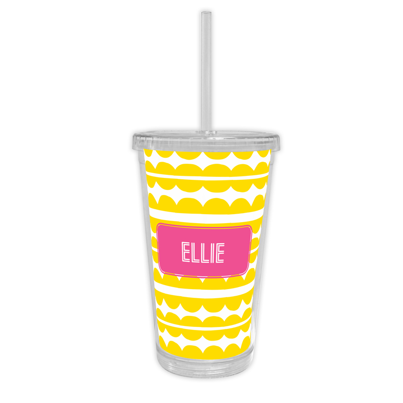Caterpillar Personalized Cold Tumbler with Straw