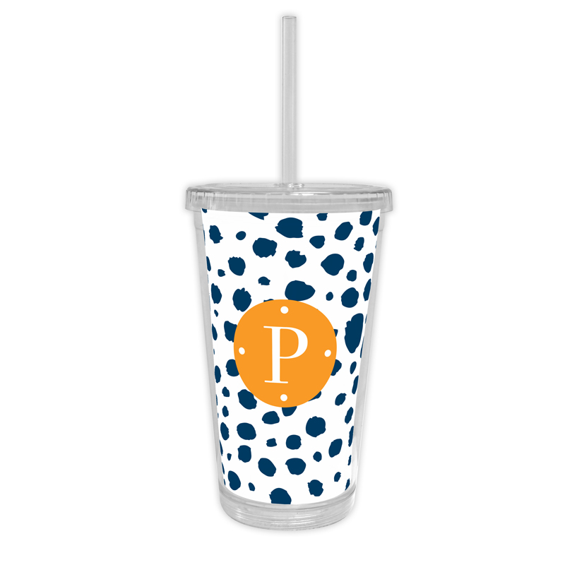 Cheetah Personalized Cold Tumbler with Straw