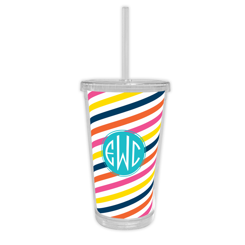 Fruit Stripe Personalized Cold Tumbler with Straw