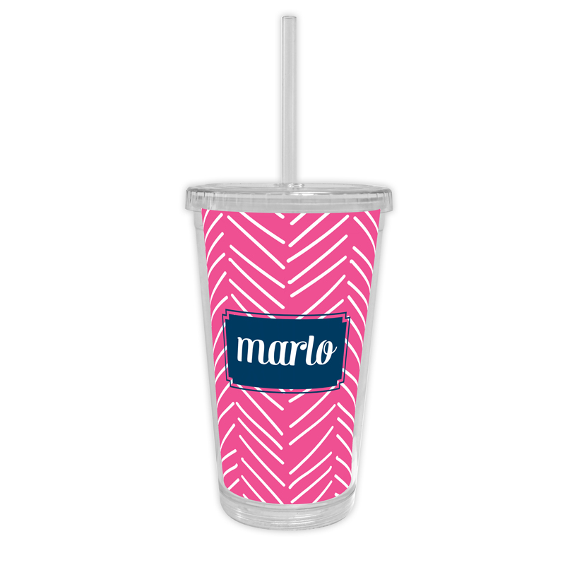 Little Lines Personalized Cold Tumbler with Straw
