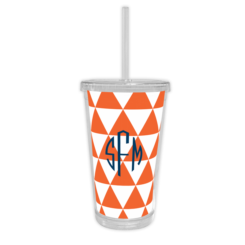 Triangles Personalized Cold Tumbler with Straw