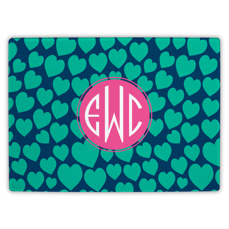 Love Struck Personalized Glass Cutting Board