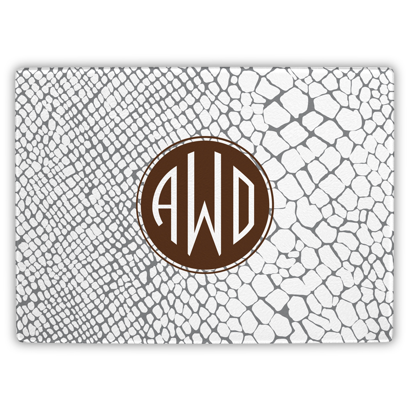 Snakeskin Personalized Glass Cutting Board