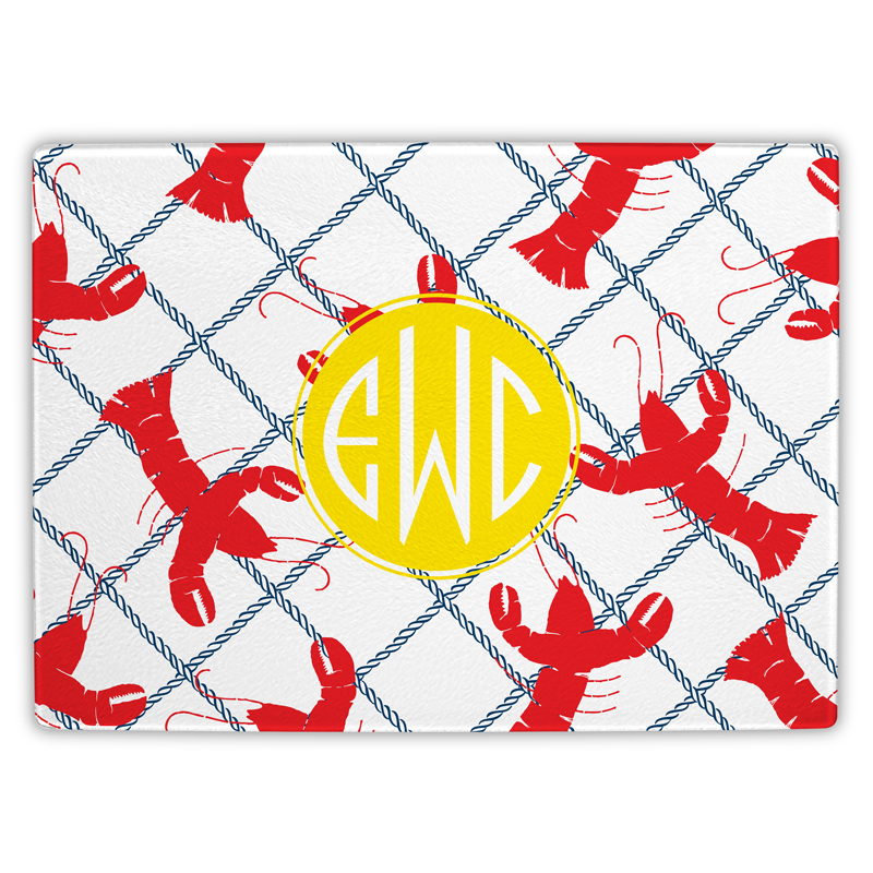 Rock Lobster Personalized Glass Cutting Board