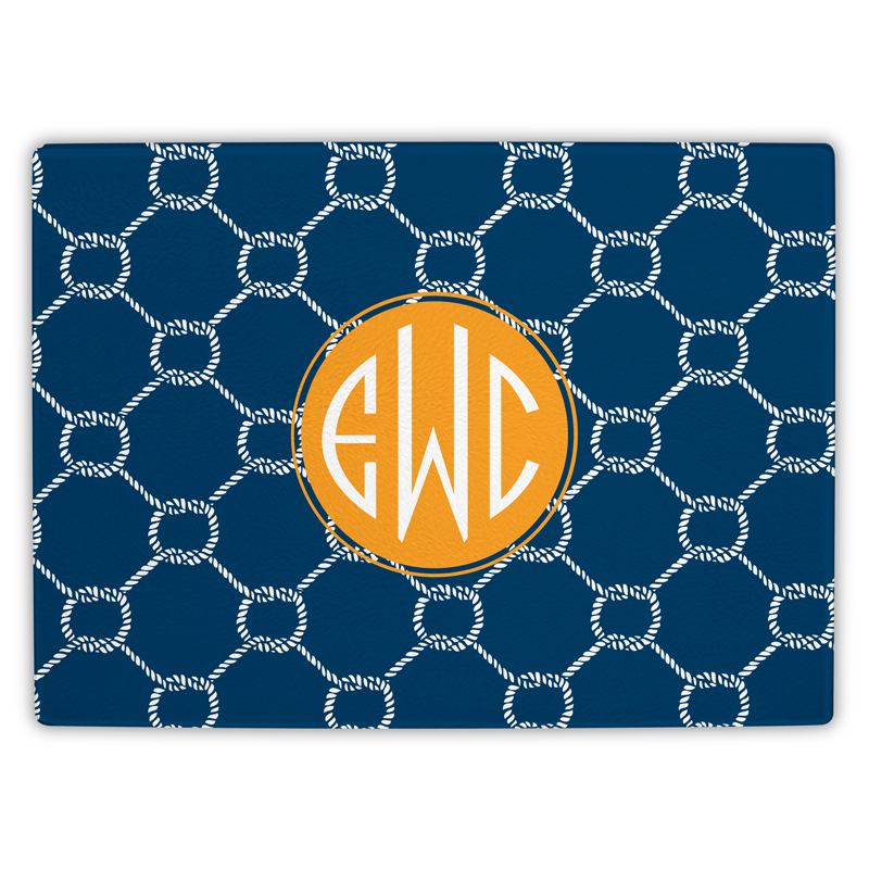 Rope Personalized Glass Cutting Board