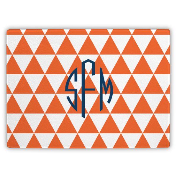 Triangles Personalized Glass Cutting Board