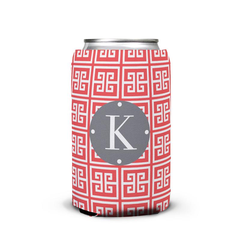 Greek Key Personalized Can Koozie