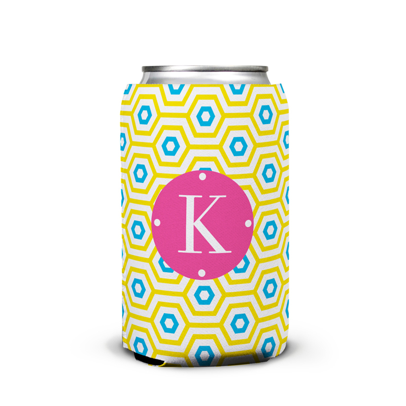 Happy Hexagon Personalized Can Koozie