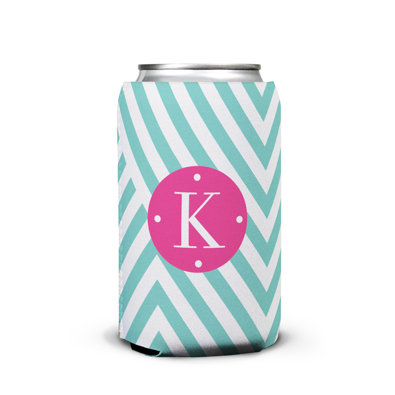 Modern Chevron Personalized Can Koozie