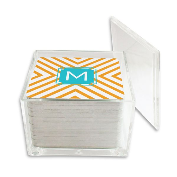 Chevron Personalized Paper Drink Coasters (125 in holder)