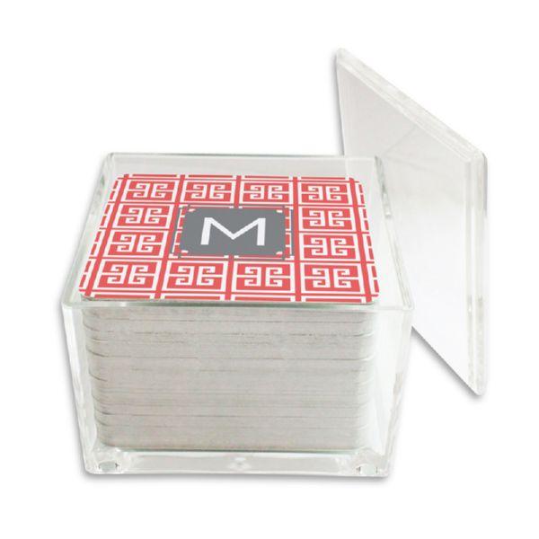 Greek Key Personalized Paper Drink Coasters (125 in holder)