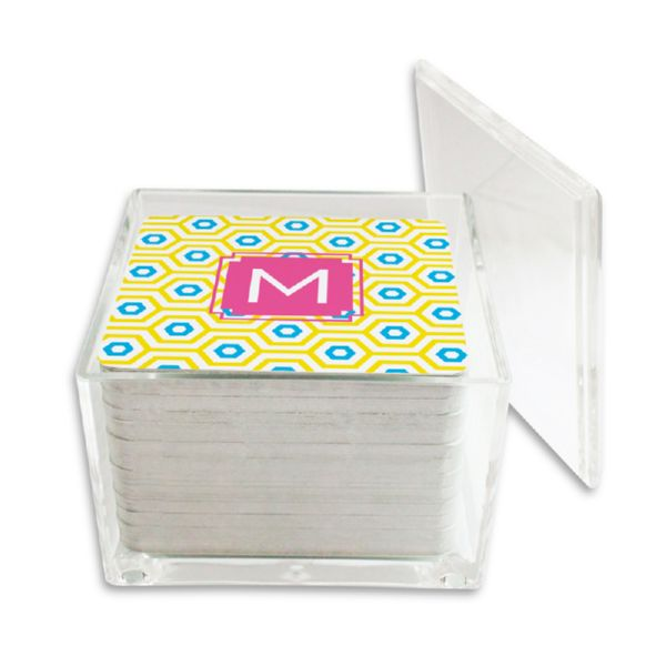 Happy Hexagon Personalized Paper Drink Coasters (125 in holder)